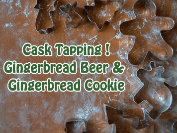 Photo of cookie cutters and the text Cask Tapping! Gingerbread Beer & Gingerbread Cookie